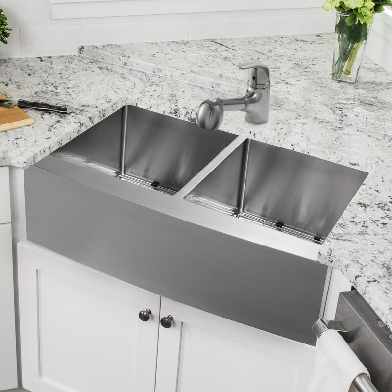 Ssap5050sp5828 32 88 L X 20 75 W A Front 50 Stainless Steel Kitchen Sink With Faucet