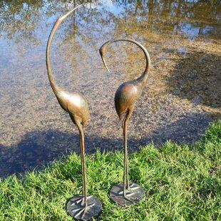 Philbert 2 Piece Crane Aluminium Statue Set