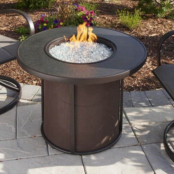 the outdoor greatroom company stonefire gas fire pit table reviews rh wayfair com Outdoor Gas Fire Pit Tables 5 piece patio set with gas fire pit