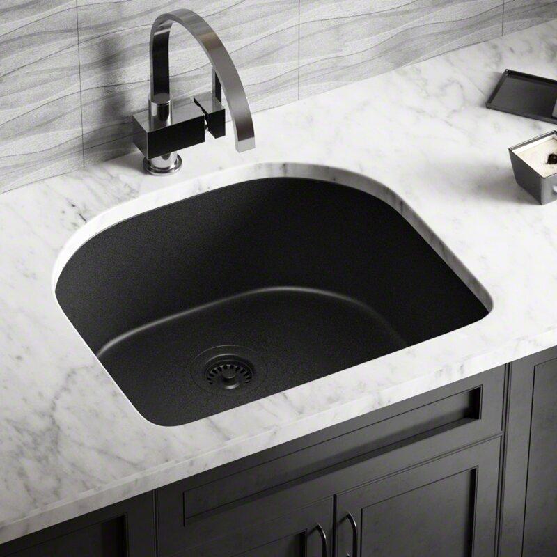 granite composite 25   x 22   undermount kitchen sink with strainers mrdirect granite composite 25   x 22   undermount kitchen sink with      rh   wayfair com