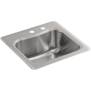 Kohler Staccato Top-Mount Single-Bowl Bar Sink with 2 Faucet Holes