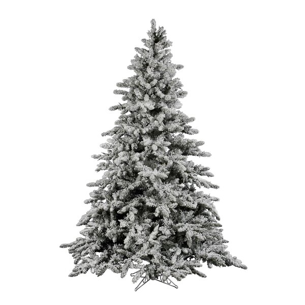 Vickerman Flock Utica 7 5 Green White Fir Trees Artificial Christmas Tree With Stand Reviews Wayfair