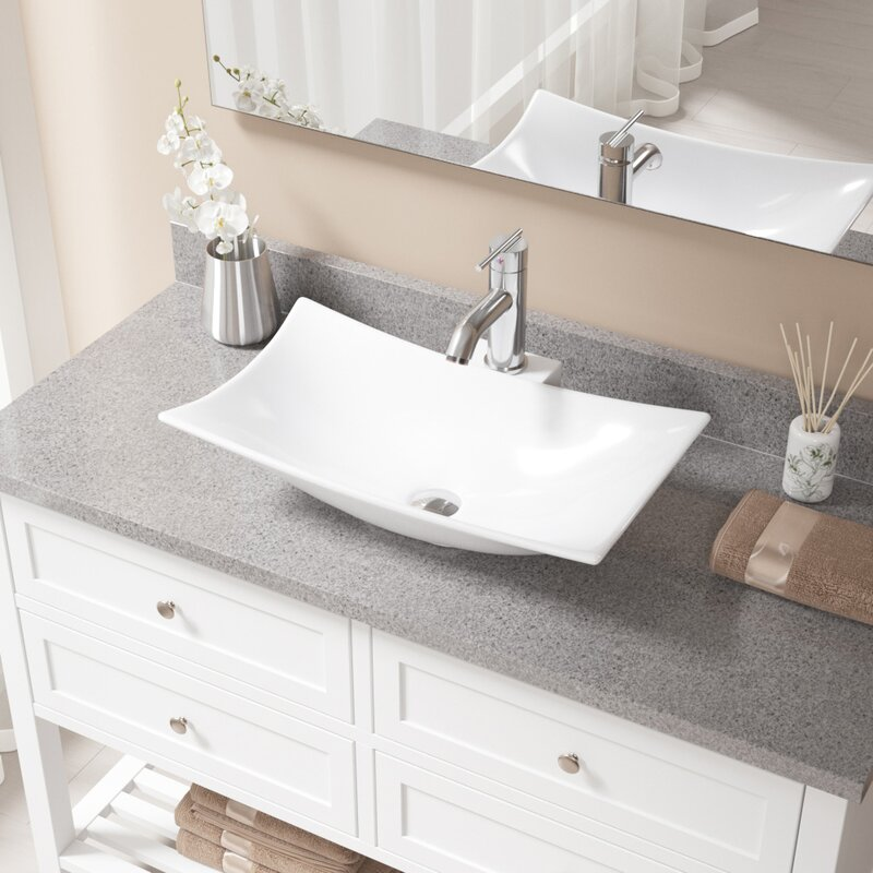 MRDirect Vitreous China Rectangular Vessel Bathroom Sink with Faucet ...