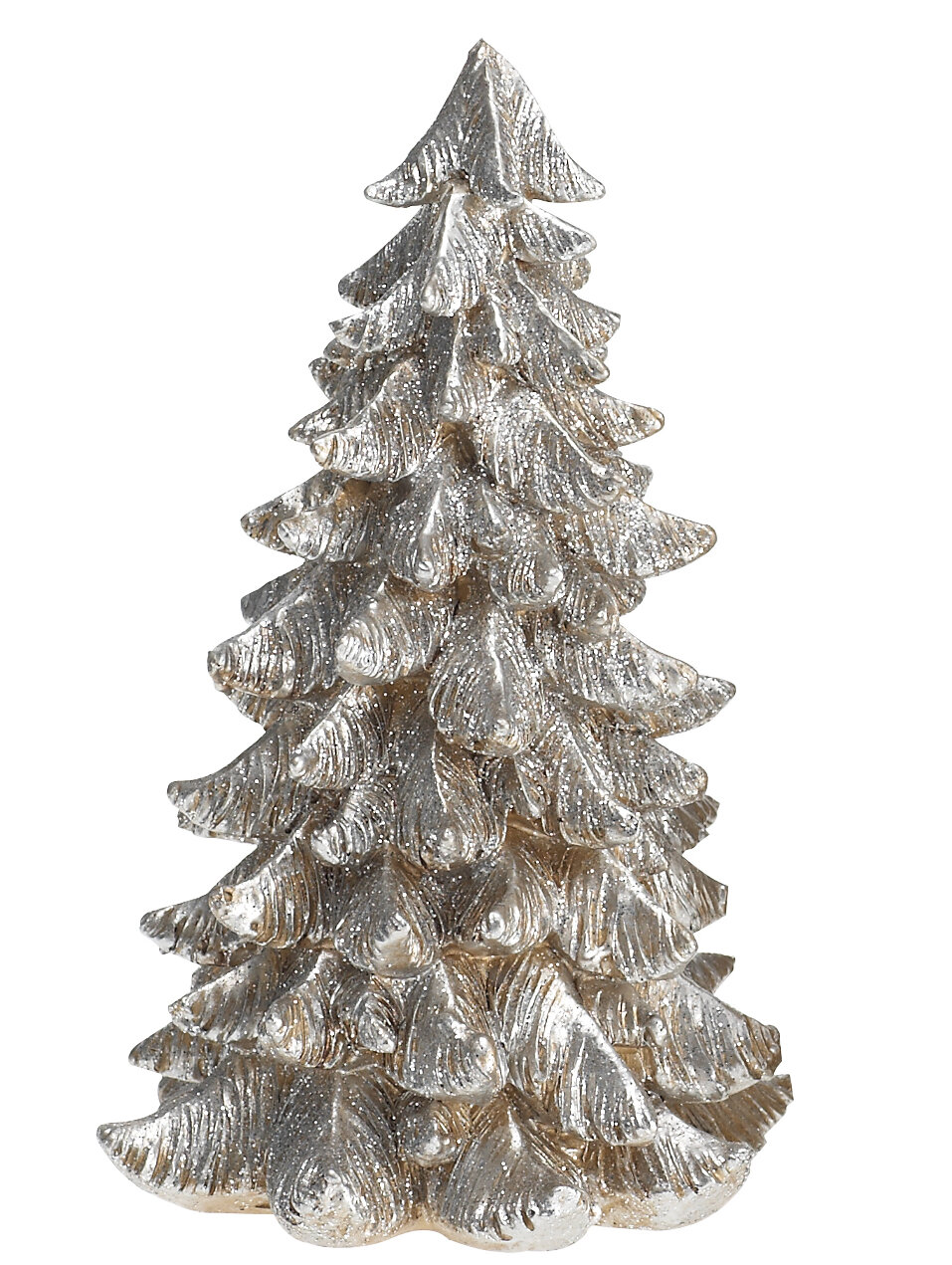 Small Silver Christmas Tree.Desmond Small Resin Silver Gold Tree Figurine