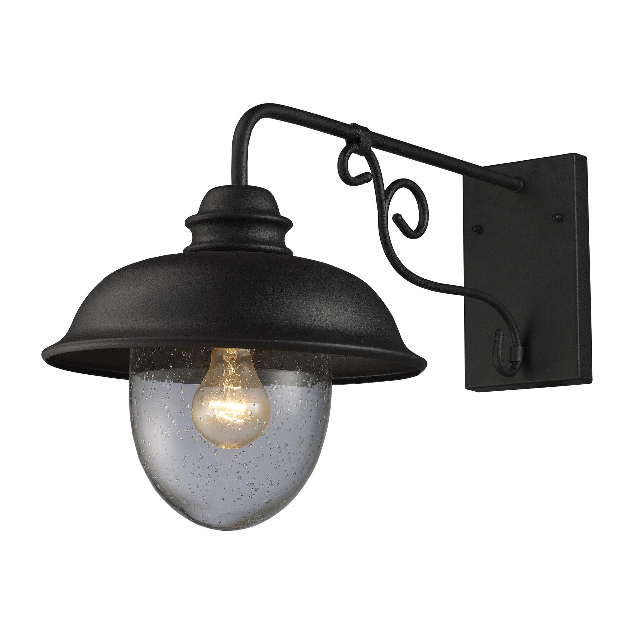 gracie oaks ying rustic 1 light outdoor barn light reviews wayfair