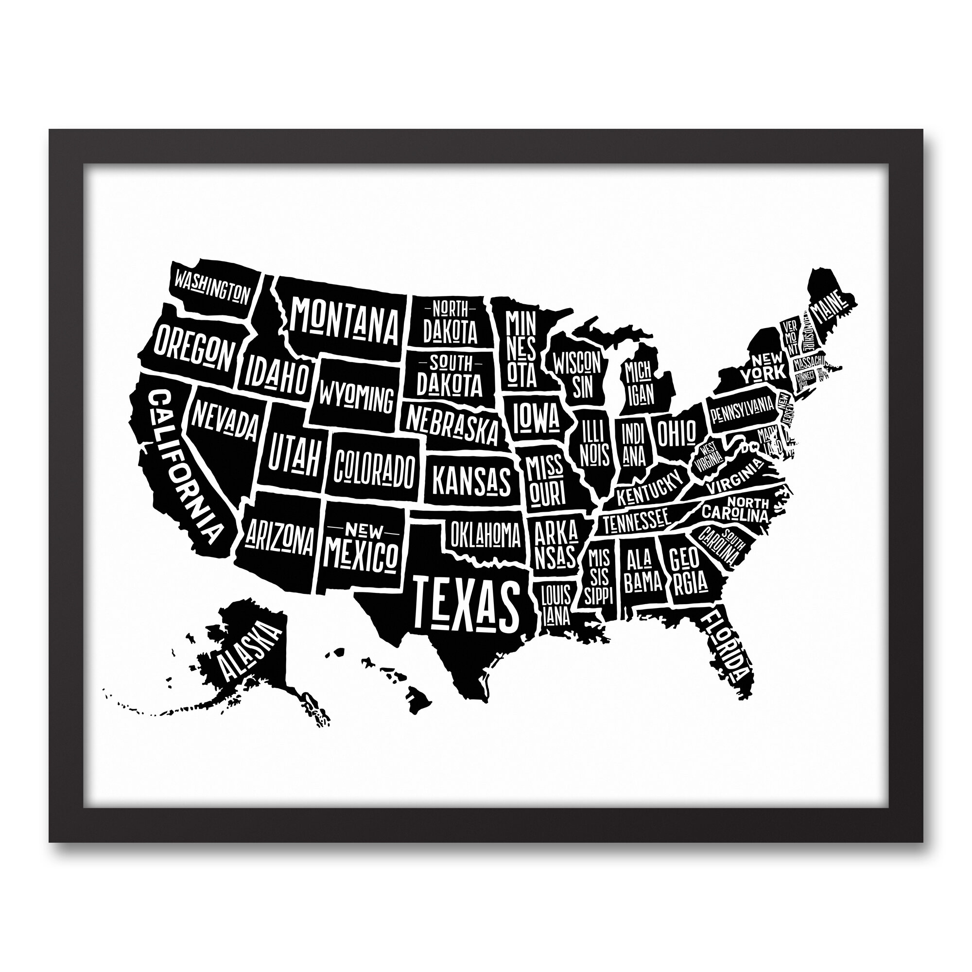 Wrought studio simple united states world map framed graphic art wrought studio simple united states world map framed graphic art print wayfair gumiabroncs Image collections