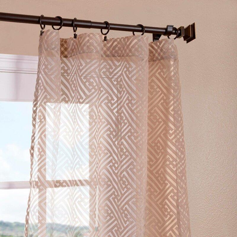 Zara Patterned Geometric Sheer Rod Pocket Single Curtain Panel