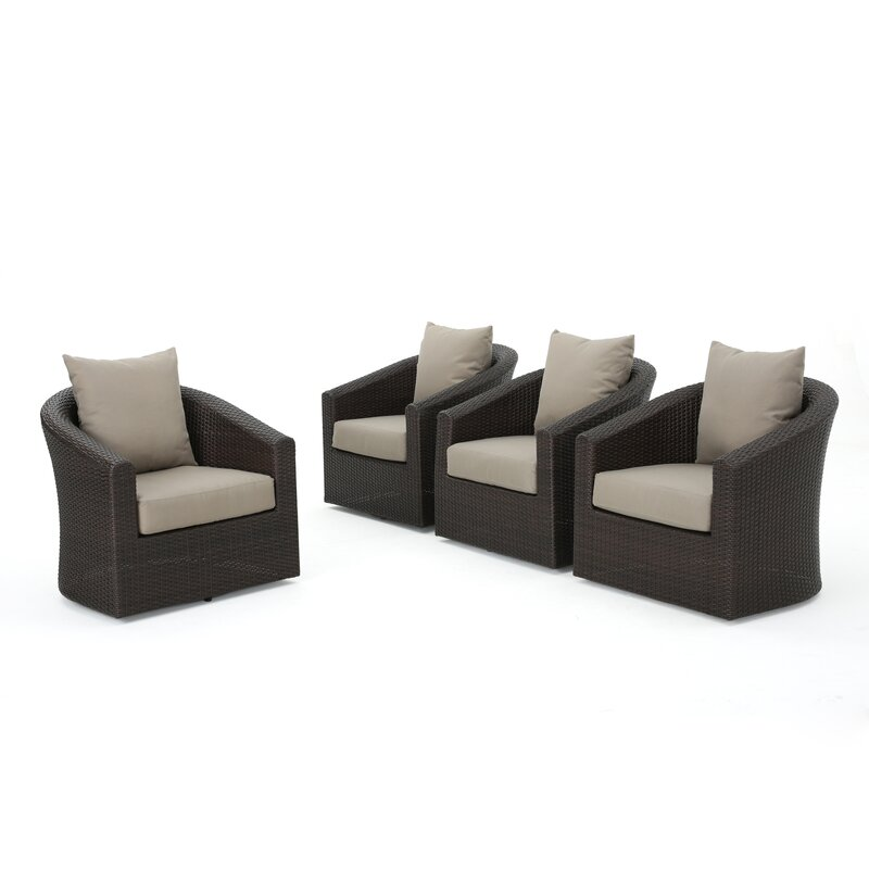 Dierdre Modern Outdoor Swivel Patio Chair with Cushions
