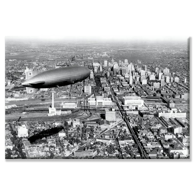 Zeppelin Above Philadelphia Photographic Print on Wrapped Canvas