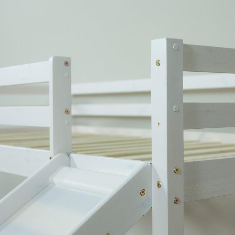 homestyle4u halbhochbett fu ball mit rutsche vorhang und. Black Bedroom Furniture Sets. Home Design Ideas