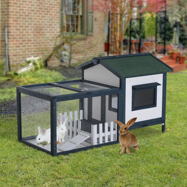 Pawhut Wooden Rabbit Hutch With Run Fence Ramp Amp Reviews