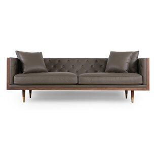 Grey Leather Sofas You\'ll Love | Wayfair