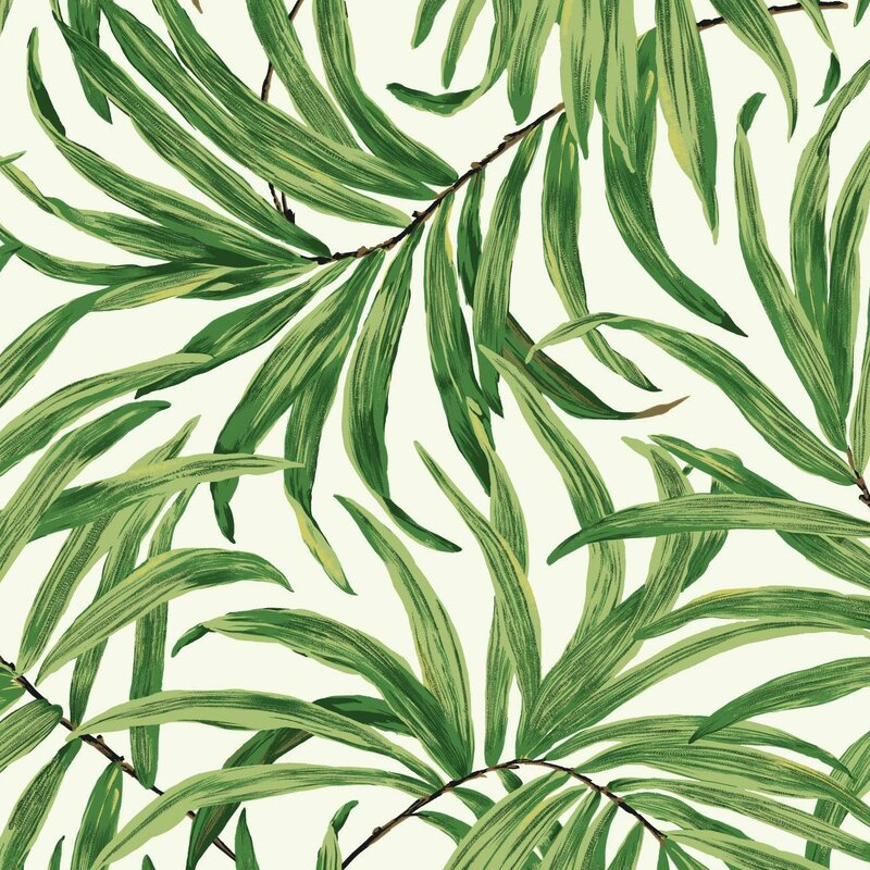 "York Wallcoverings Ashford Tropics 27' x 27"" Bali Leaves Wallpaper Roll & Reviews | Wayfair"