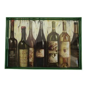 Wine Lineup Green Rectangle Serving Tray