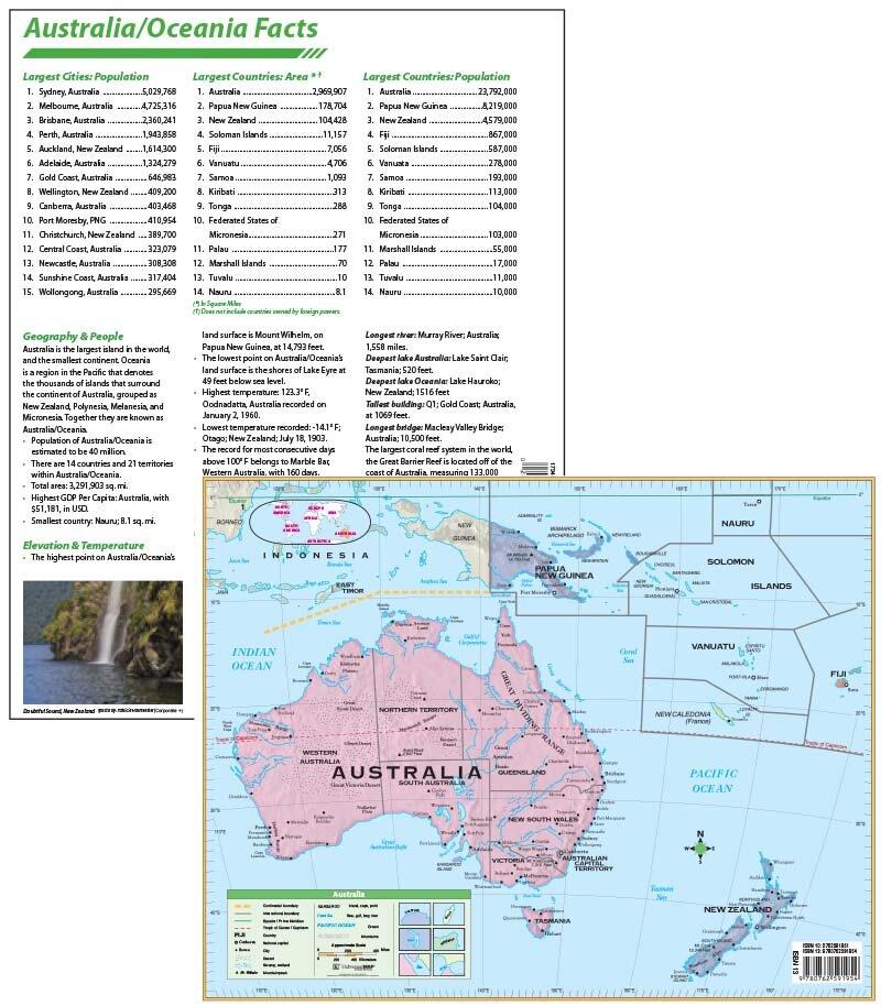 Universal Map Laminated Australia Continent Map 11\