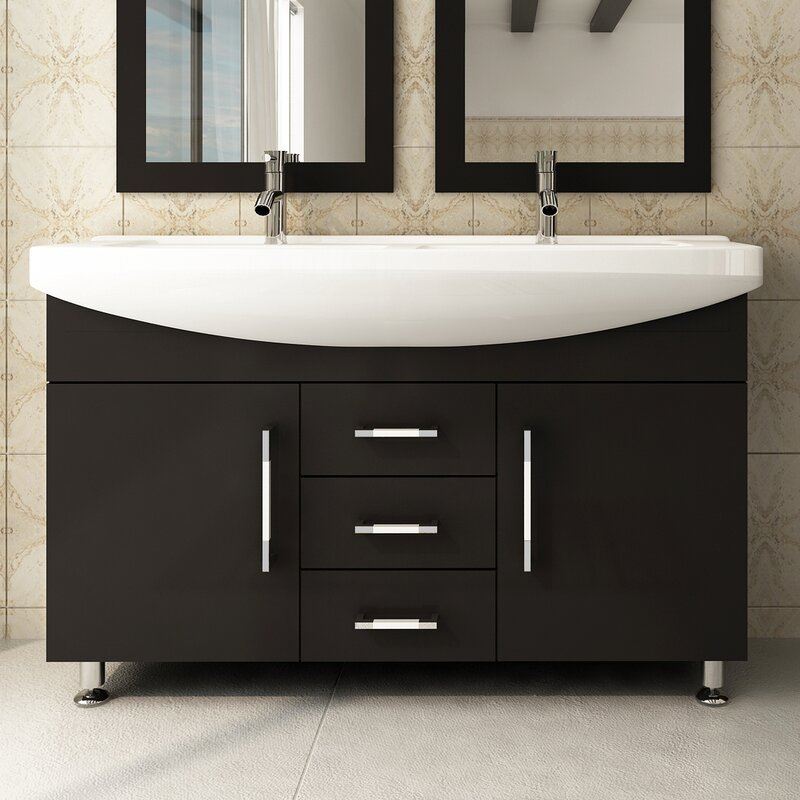 "Bathroom Vanities Set jwh living celine 48"" double bathroom vanity set & reviews 