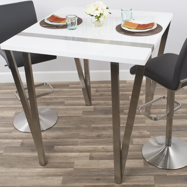 Brayden Studio Eve High Gloss Lacquer And Brushed Stainless Steel Pub Table  | Wayfair
