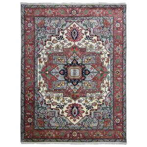 Frissell Serapi Hand-Woven Wool Gray/Red Area Rug