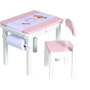Budding Artist Kids 3 Piece Rectangle Table and Chair Set