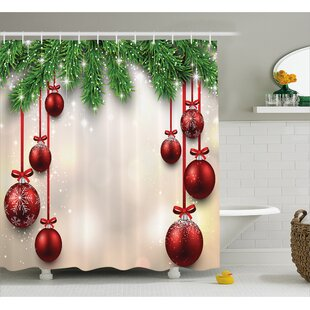 Christmas Red Balls Ribbons Shower Curtain