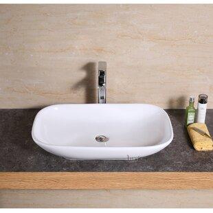 Vanity Art Basin Ceramic Rectangular Vessel Bathroom Sink