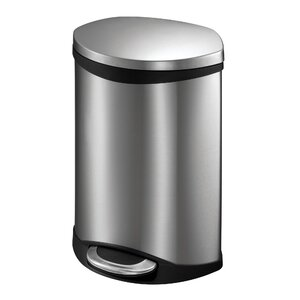 Hands-Free Shell 1.5 Gallon Step-On Stainless Steel Trash Can