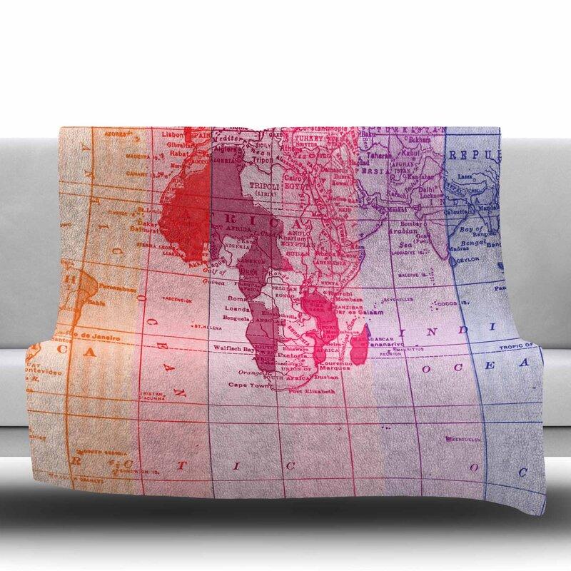 East urban home rainbow world map by catherine holcombe fleece throw rainbow world map by catherine holcombe fleece throw blanket gumiabroncs Images