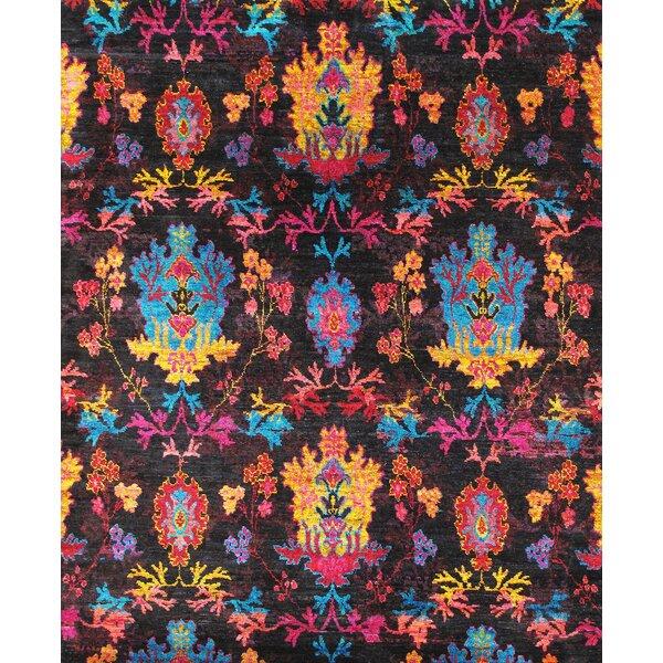 Pasargad Elegance Ikat Sari Silk Hand Knotted Pink/Black Area Rug | Wayfair