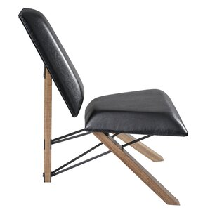 Hahn Slipper Chair in Black PU Leather by Adesso