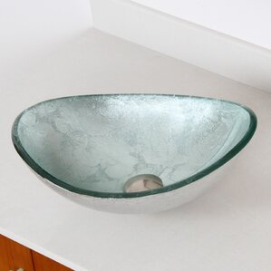 Hand Painted Glass Oval Vessel Bathroom Sink