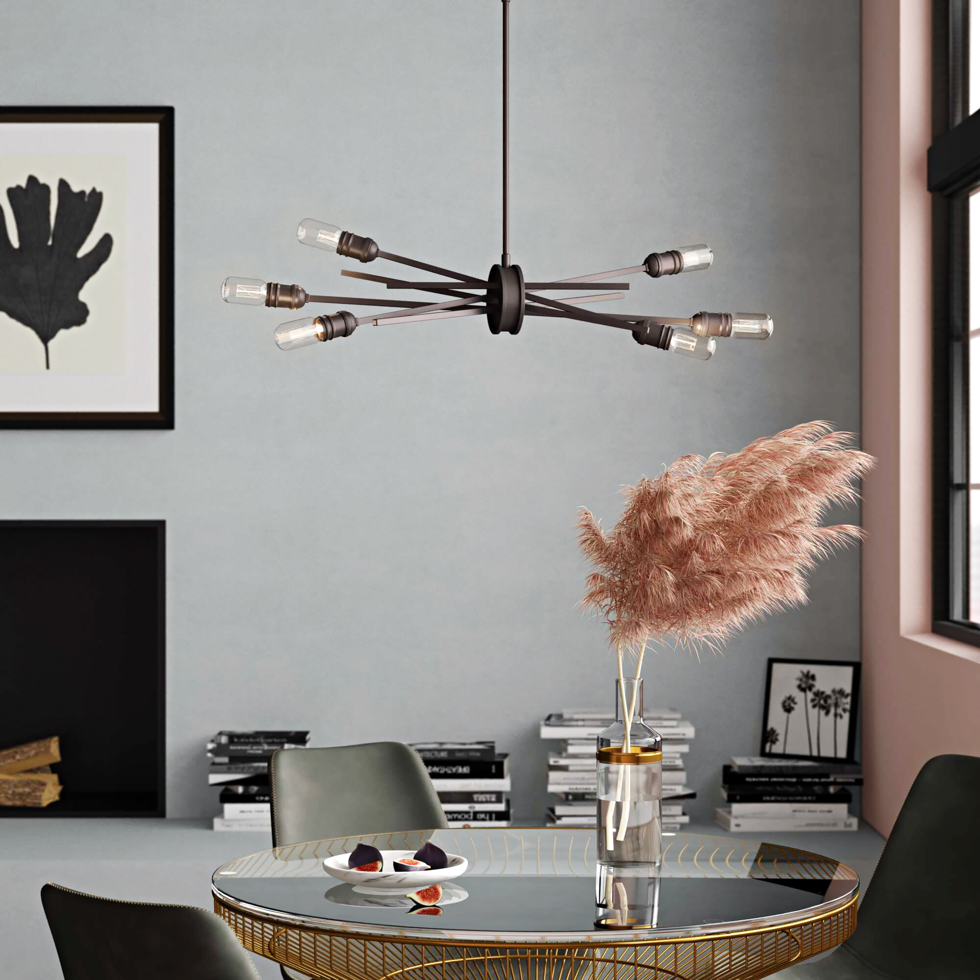 Superbe Byler Modern 6 Light Sputnik Chandelier