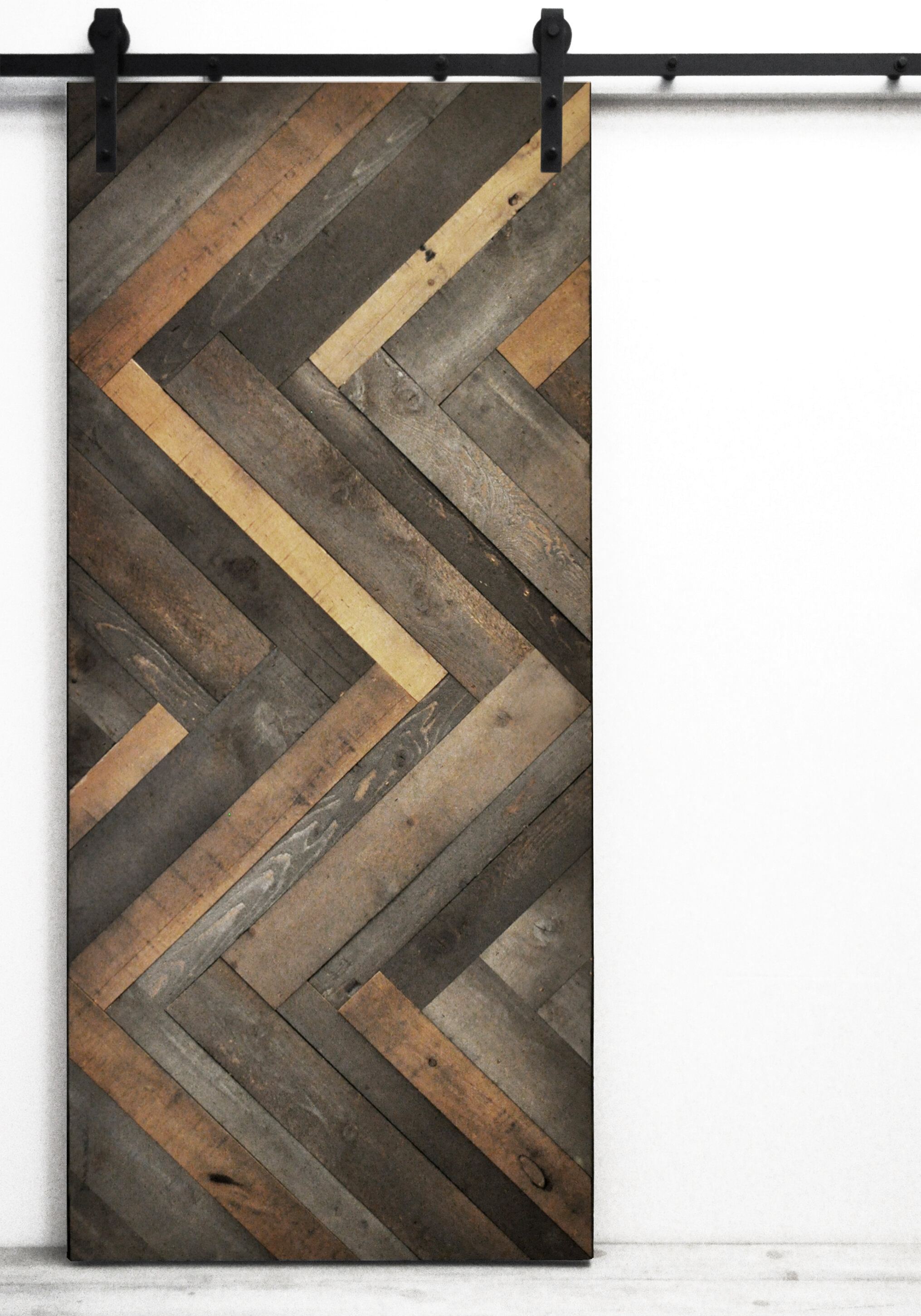Dogberry Collections Herringbone Wood Stained Interior Barn Door u0026 Reviews   Wayfair & Dogberry Collections Herringbone Wood Stained Interior Barn Door ...