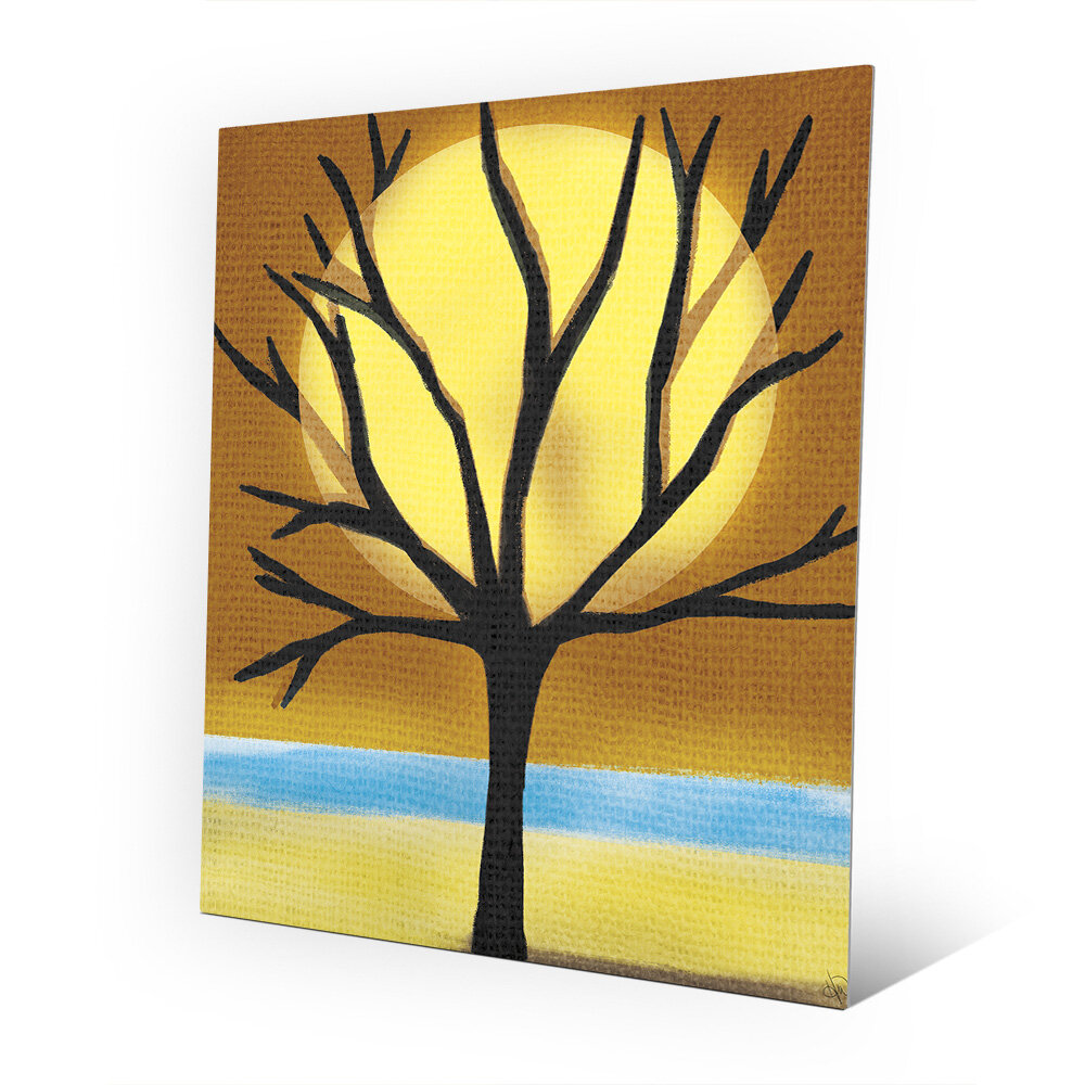 Click Wall Art \'Tree and the Sun\' Graphic Art on Metal | Wayfair