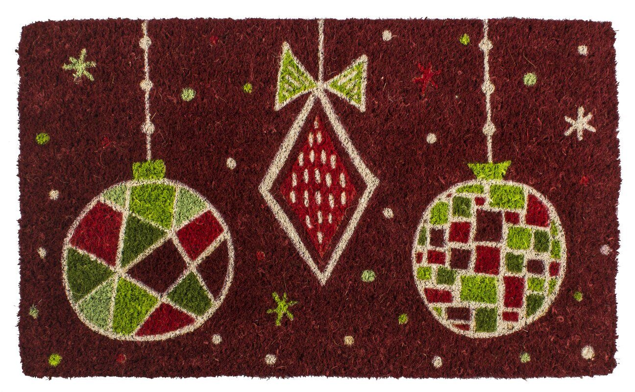 The Holiday Aisle Geo Ornaments Handwoven Coconut Fiber Doormat ...