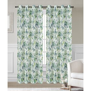 Fauna Nature/Floral Sheer Grommet Curtain Panels (Set of 2)