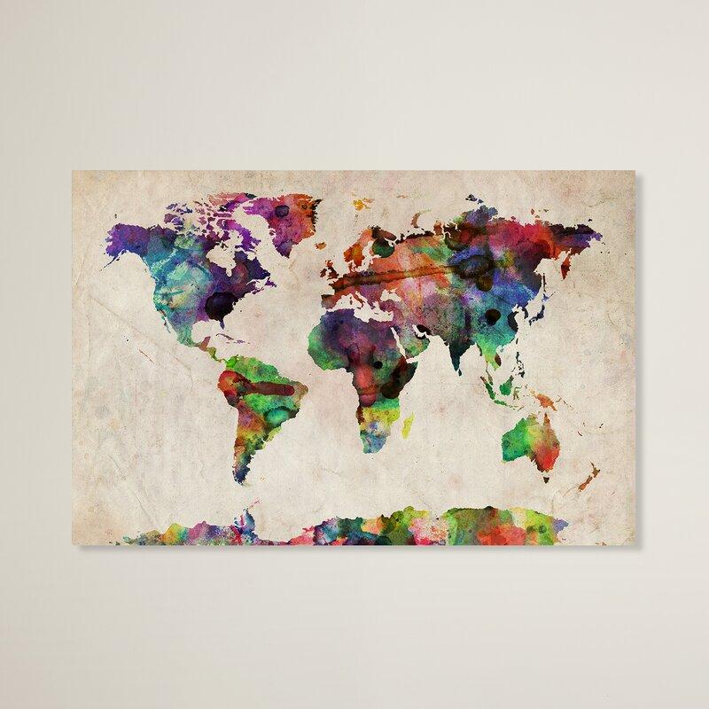 Urban Watercolor World Map\' Framed on Beige Canvas & Reviews | AllModern
