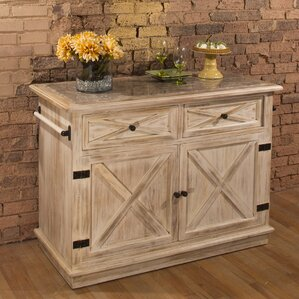 Glenwood Springs Kitchen Island with Marble Top by Loon Peak