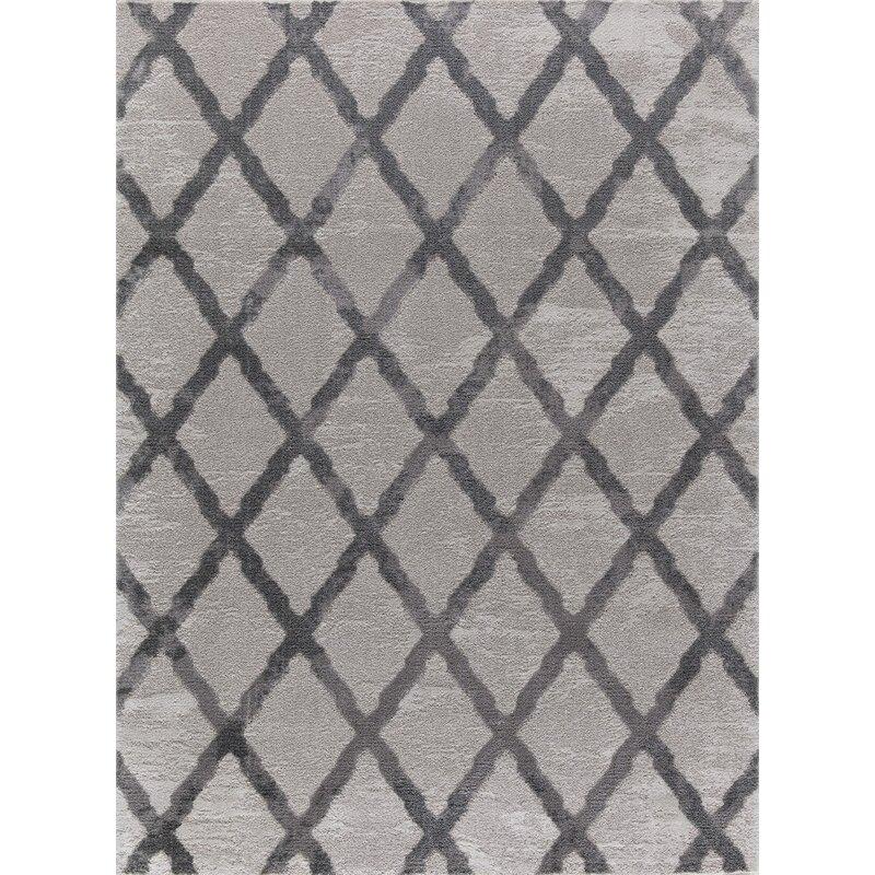 Winston Porter Makenna Gray Area Rug, Size: Rectangle 8 x 10