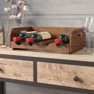 Labat Recycled Wood 4 Bottle Tabletop Wine Bottle Rack