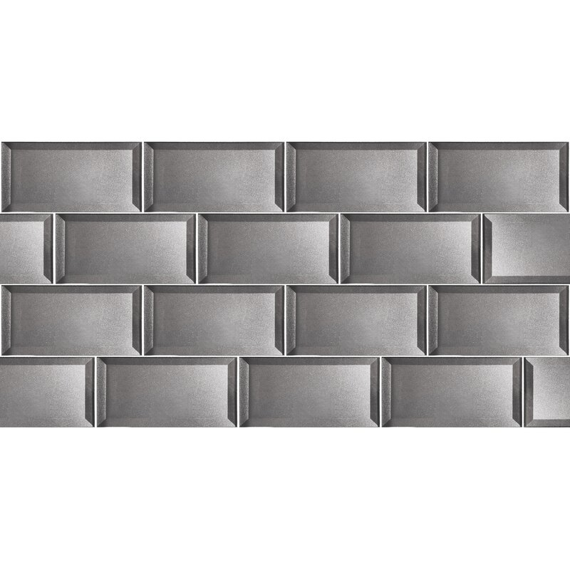 Abolos Secret Dimensions 3 X 6 Glass Subway Tile In Glossy Silver