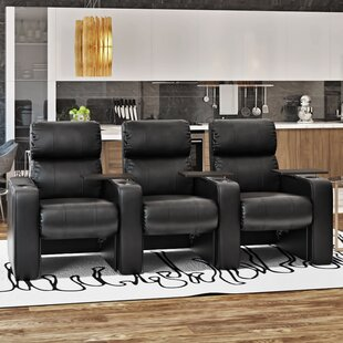 Luxury Manual Rocker Recline Home Theater Sofa Row Of 3