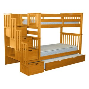 Stairway Tall Twin Over Twin Bunk Bed with Trundle by Bedz King