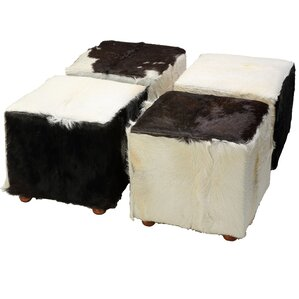 Snowmass Village Cowhide Cube Leather Ottoman by Loon Peak
