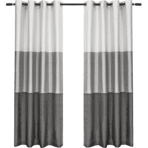 newton striped semisheer grommet curtain panels set of 2