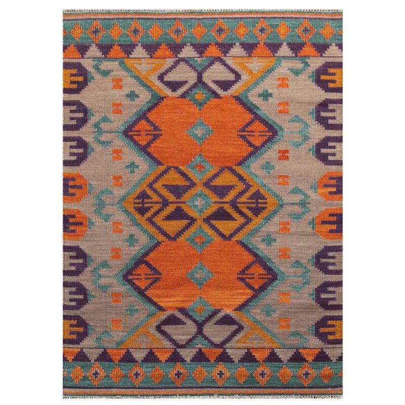 Zebuline Handmade Kilim Wool Orange Rug