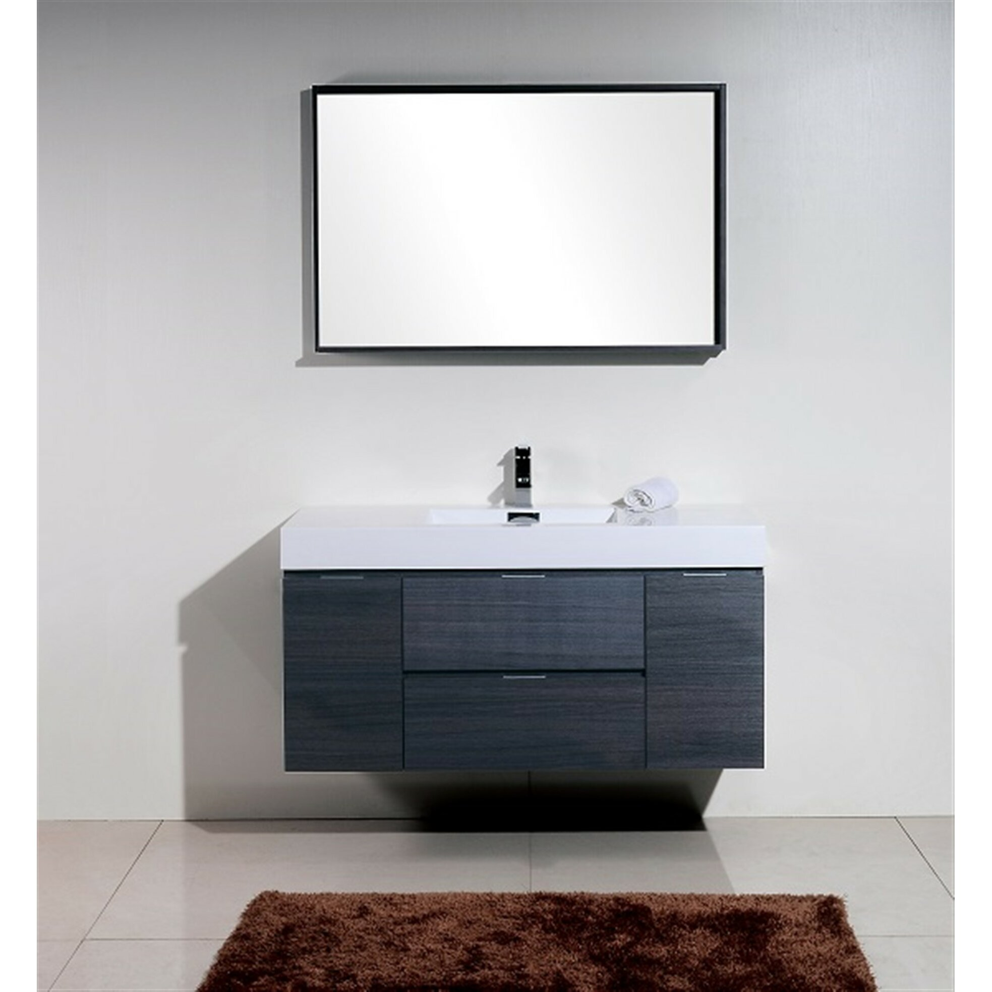 Bathroom Vanity Wall Mounted - Tenafly 48 single wall mount modern bathroom vanity set