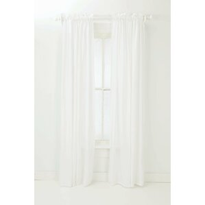 washed solid sheer rod pocket single curtain panel
