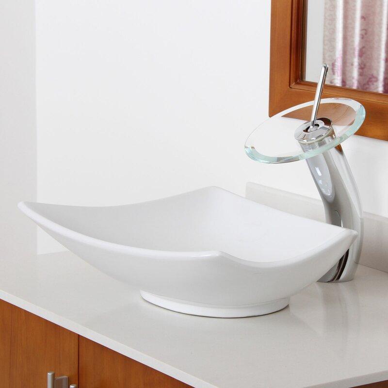 Elite Ceramic Specialty Vessel Bathroom Sink & Reviews   Wayfair