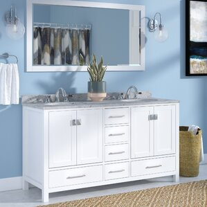 serigne 60 double bathroom vanity set with carrara white top and mirror - White Bathroom Cabinets And Vanities