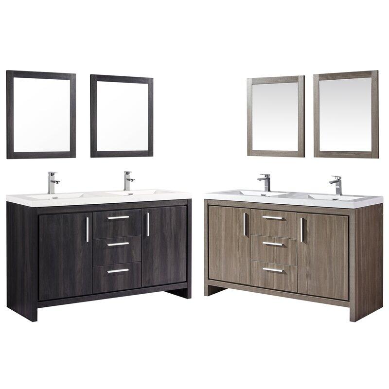 Peiffer 59 Double Sink Bathroom Vanity Set With Mirror